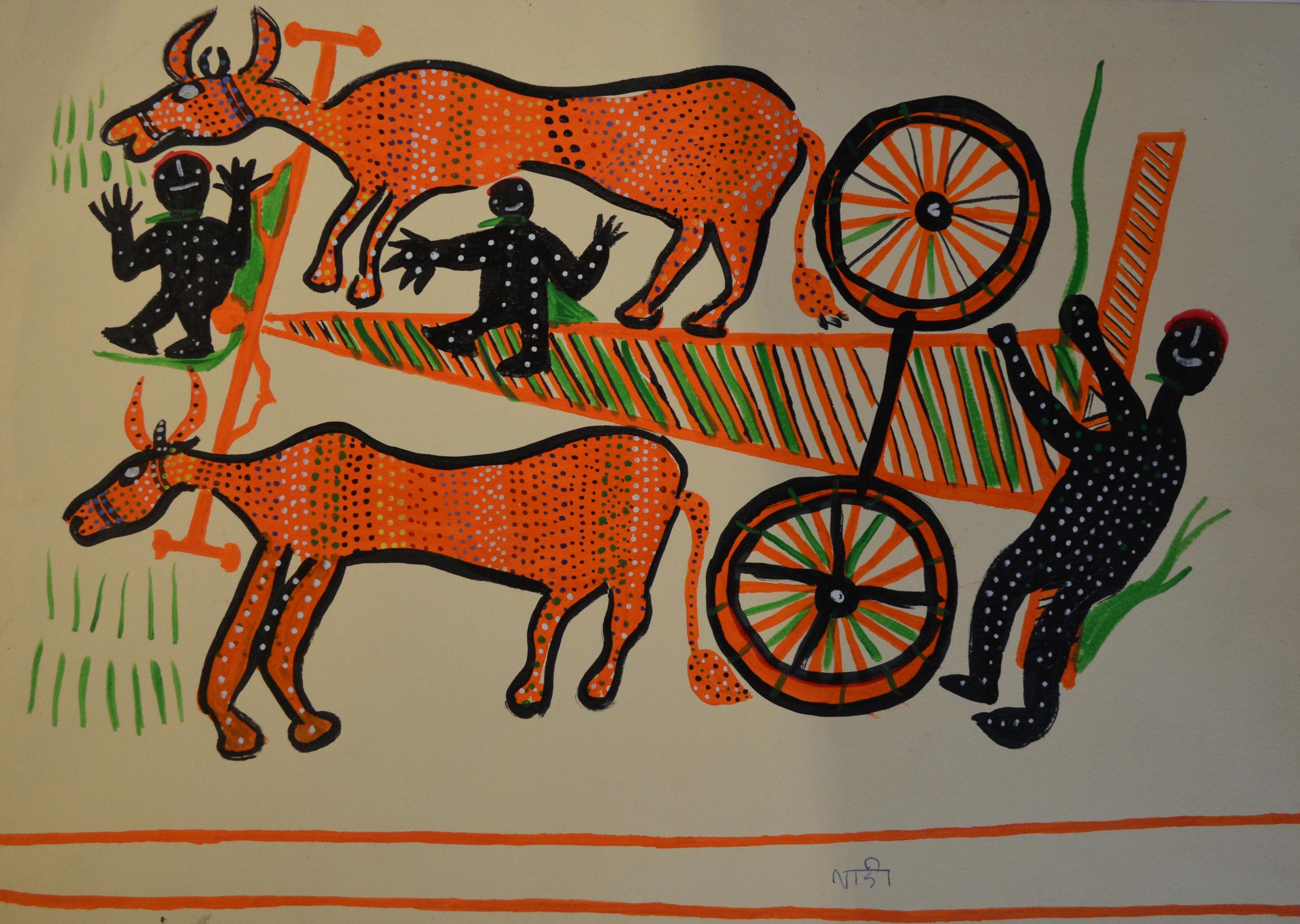 Ladoo Bai, Ox & Cart, acrylic on paper, C2008, 36x50cm.jpg