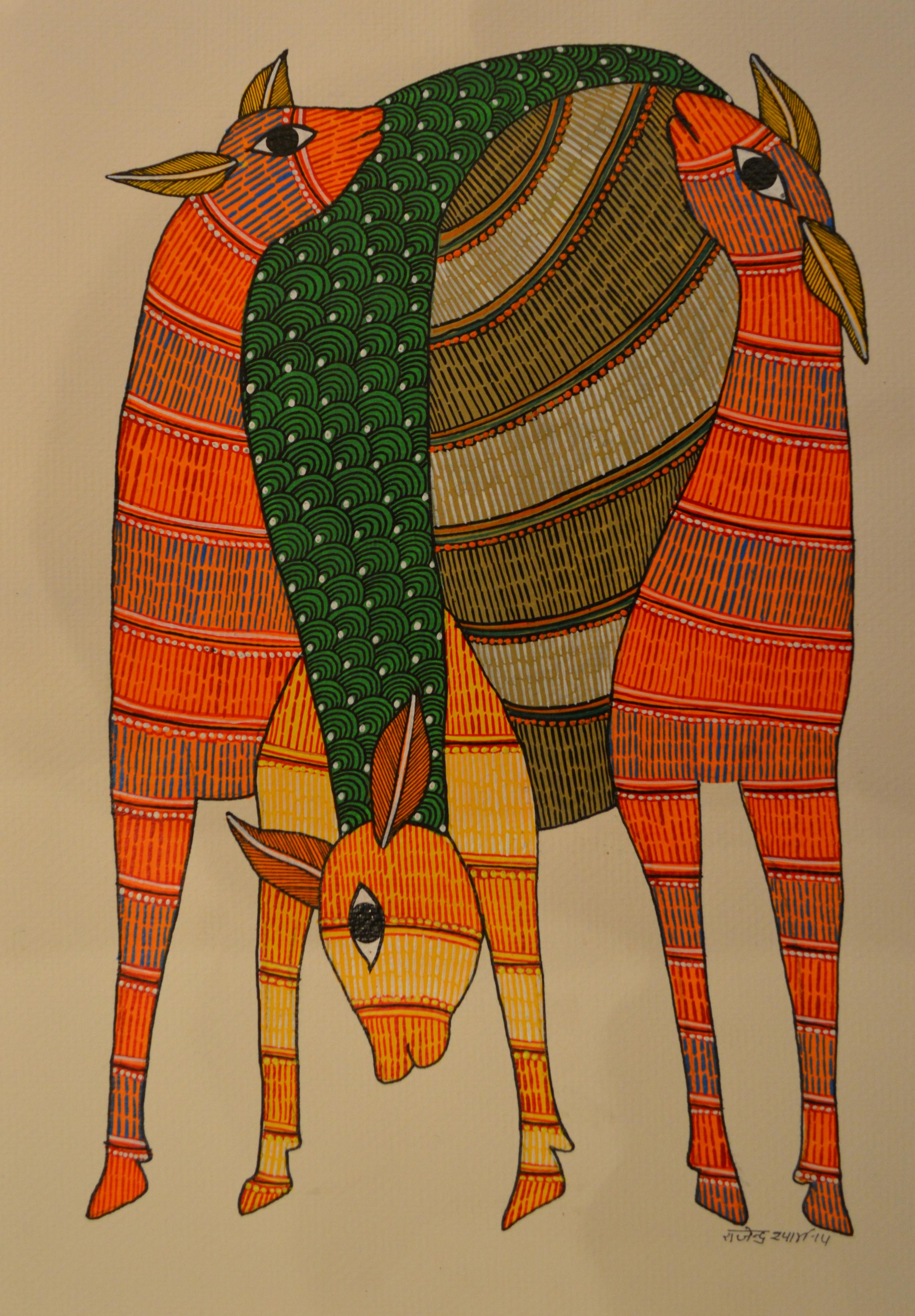 Raju Shyam - Gond, Untitled, acrylic on paper, 33x22cm,   2014.jpg