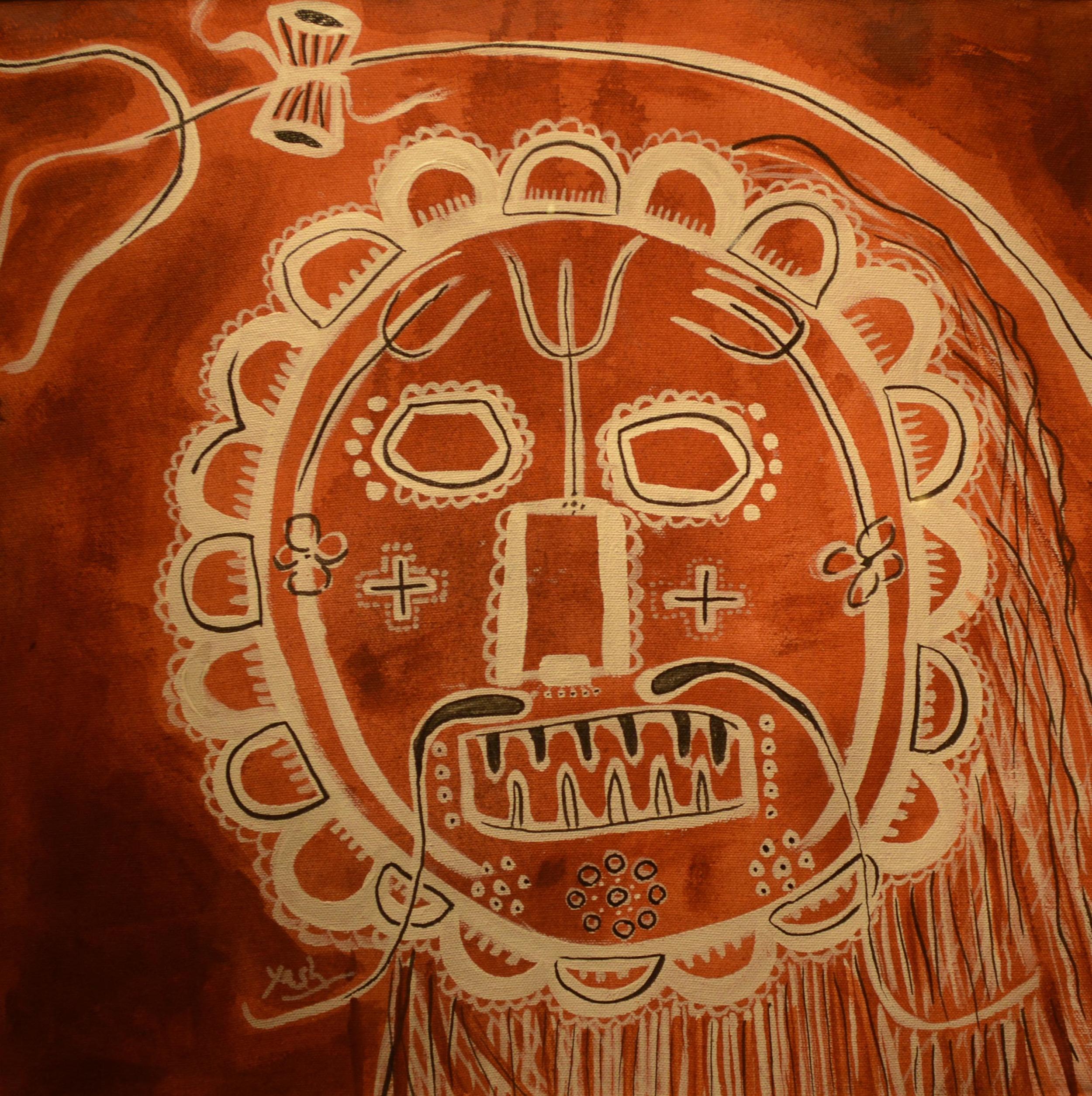 Yashpal Baranda, terracotta, ink & acrylic on canvas, 45x45cm, 2015.jpg