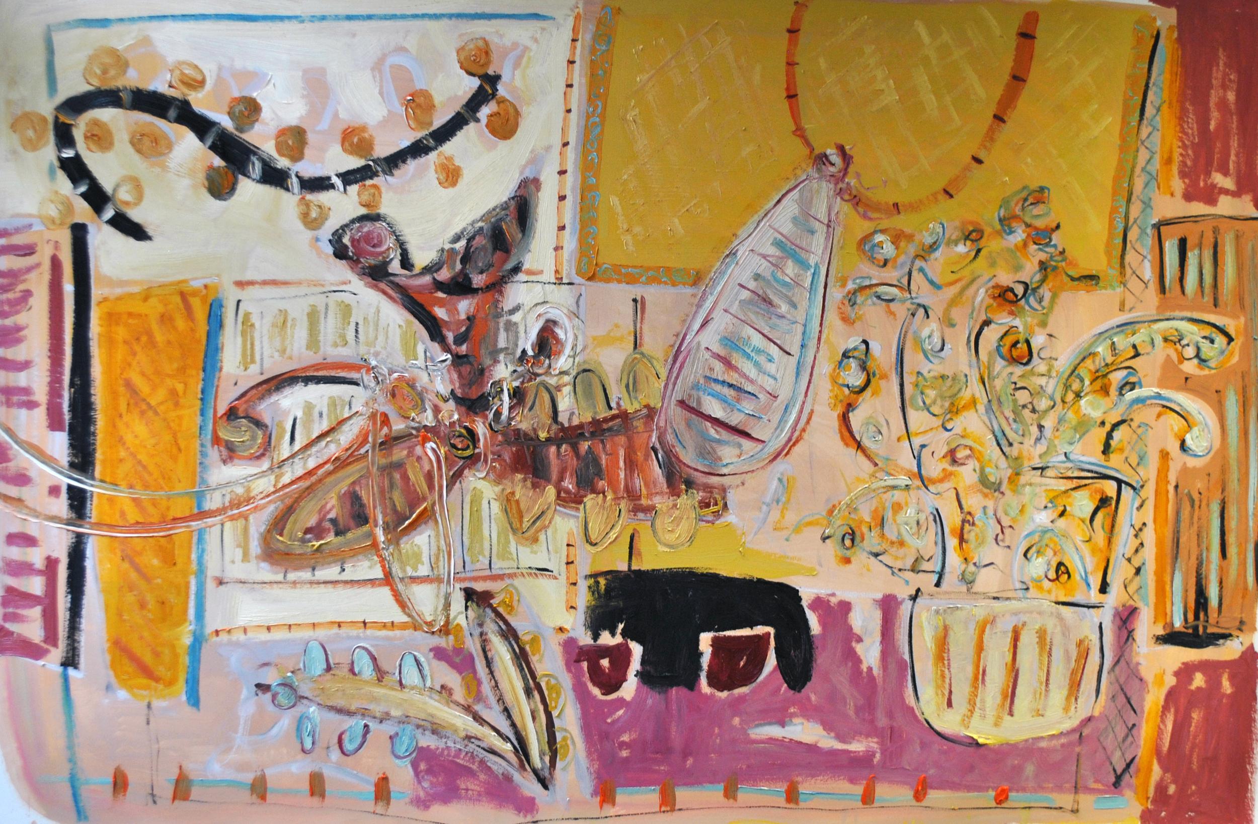 Alec  Cumming, Swing Kicks, oil on paper, 91x138cm,2015.jpg