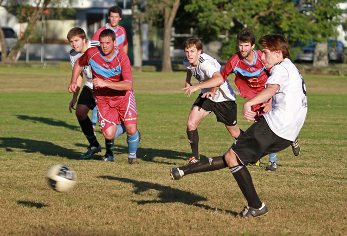 George Martin strokes home a goal to help Byron Bay Rams seal a conclusive victory over Casino. The 6-0 win strengthened the Rams' chances of claiming this season's minor premiership.