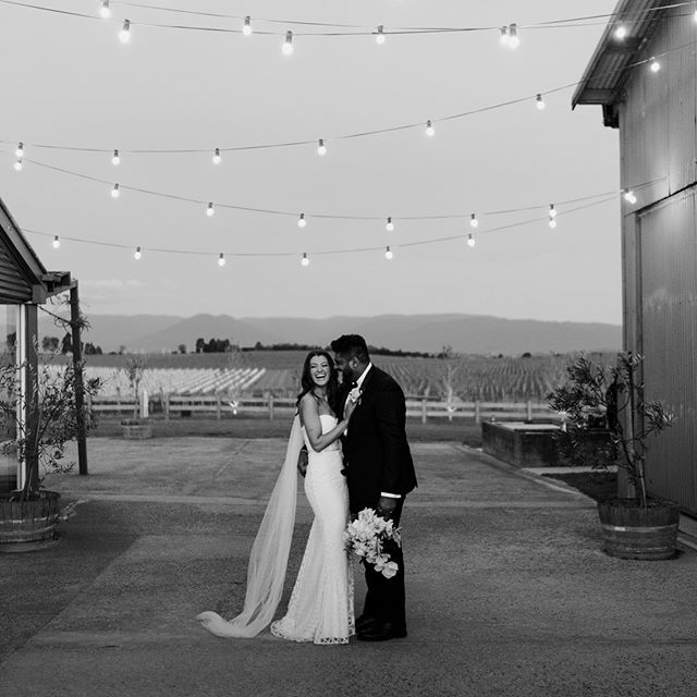 Mel and Alex beneath the festoon lights at the beautiful @zonzoestate.