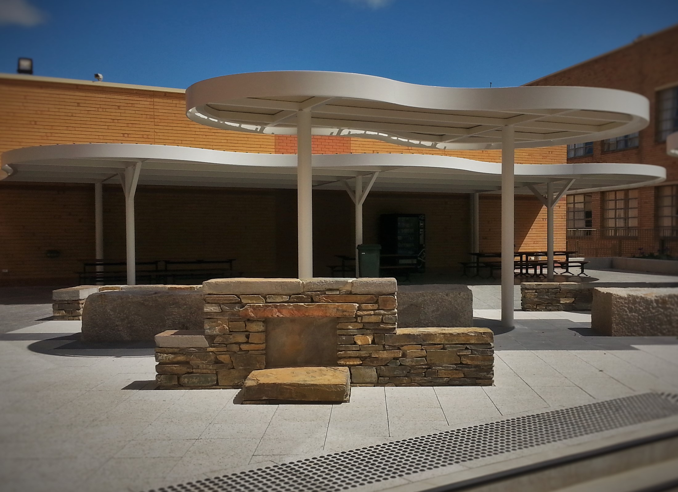Modern dry stone walls. Adelaide High School, Adelaide, South Australia