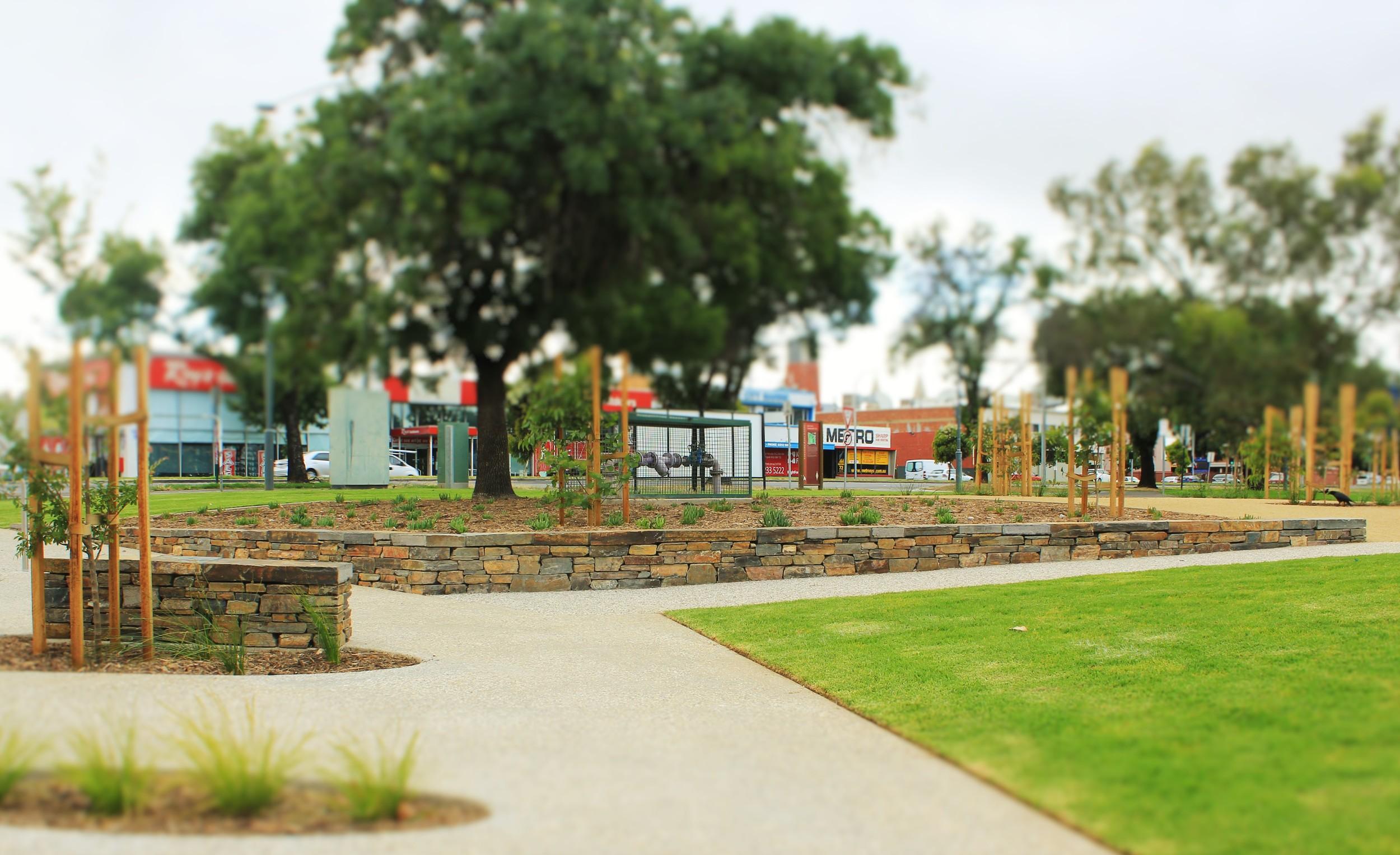 Modern dry stone walls. Adelaide High School, South Australia