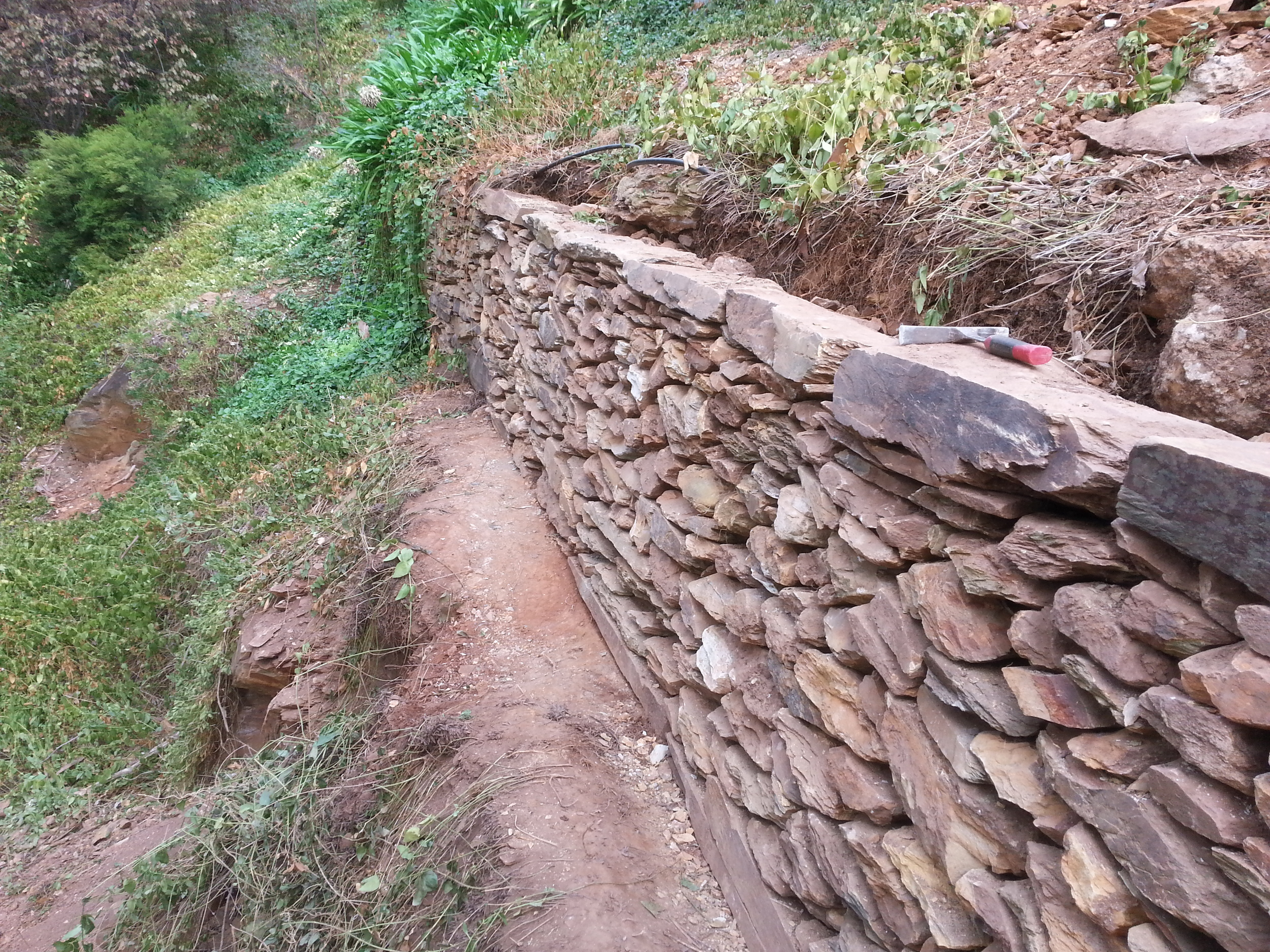 Historic Dry Stone Retaining Wall. Belair, Adelaide, South Australia