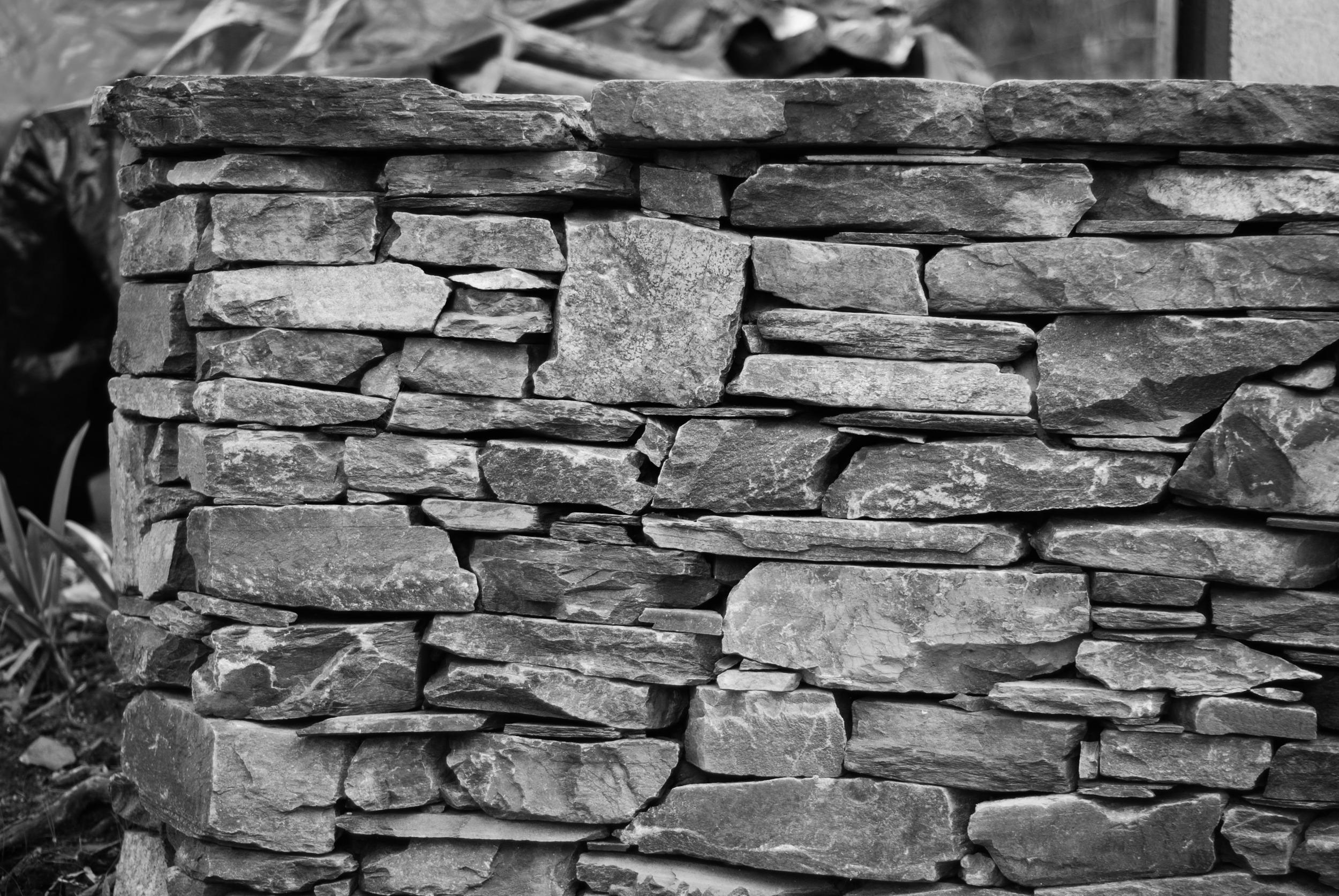Modern dry stone retaining wall. Belair, Adelaide, South Australia
