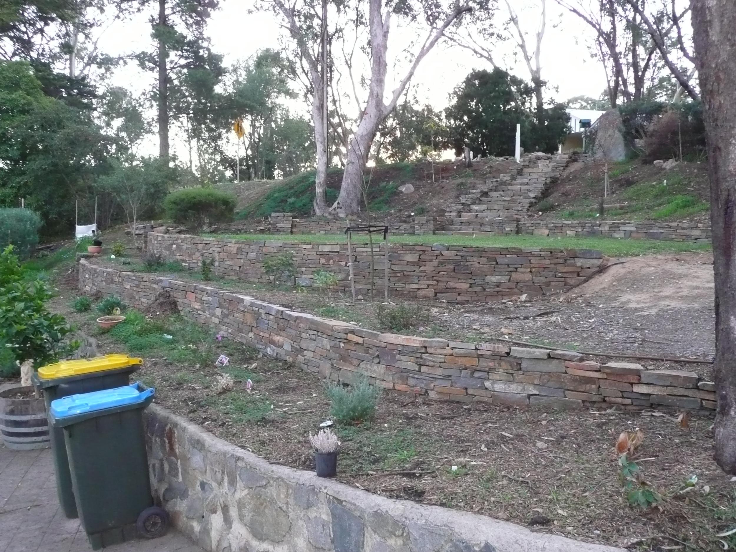 Dry stone retaining walls and steps. Hawthorndene, Adelaide, South Australia