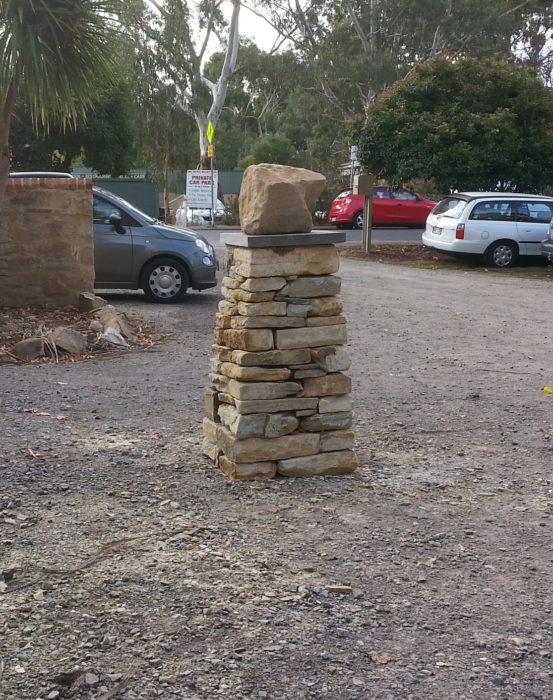 Dry stone cairn. Hahndorf, Adelaide Hills, South Australia