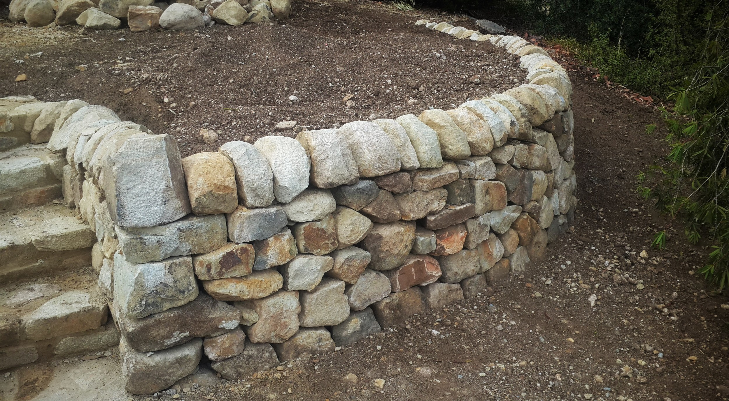 Traditional Dry Stone Retaining Wall. Hallett Cove, Adelaide, South Australia