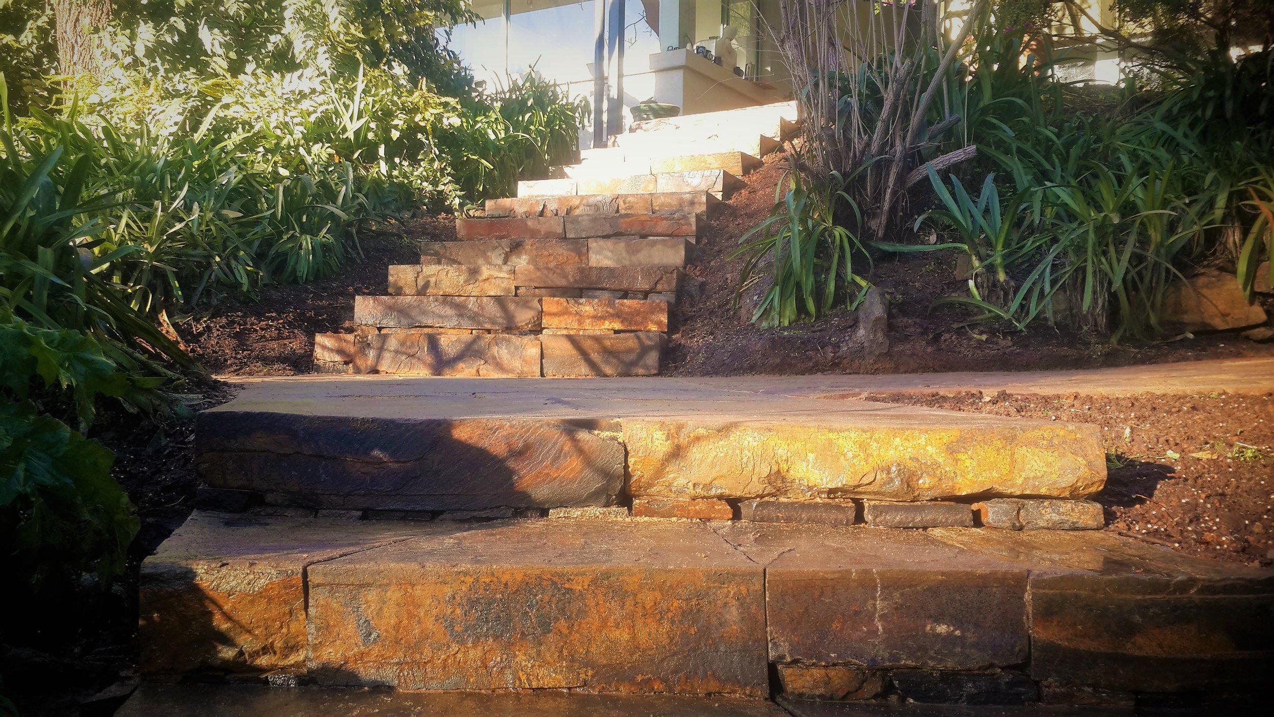 Dry Laid Kanmantoo Bluestone Steps, Norton Summit, South Australia