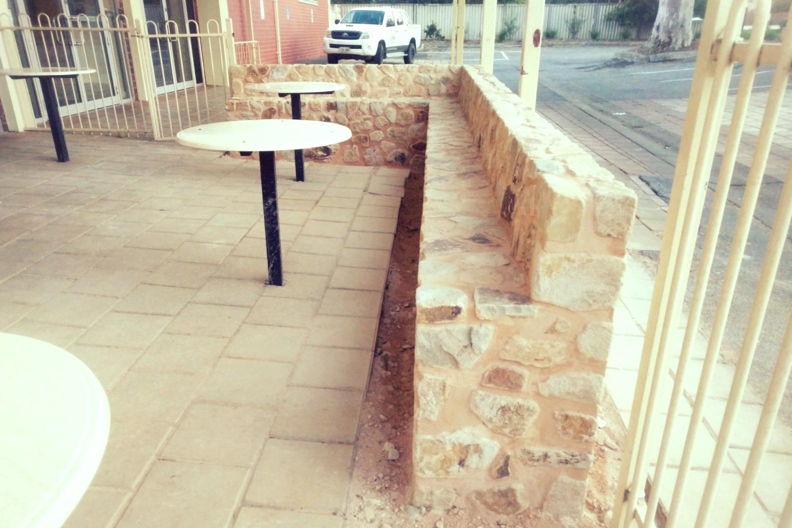 Basket Range Sandstone Sitting Wall. Blackwood, Adelaide, South Australia