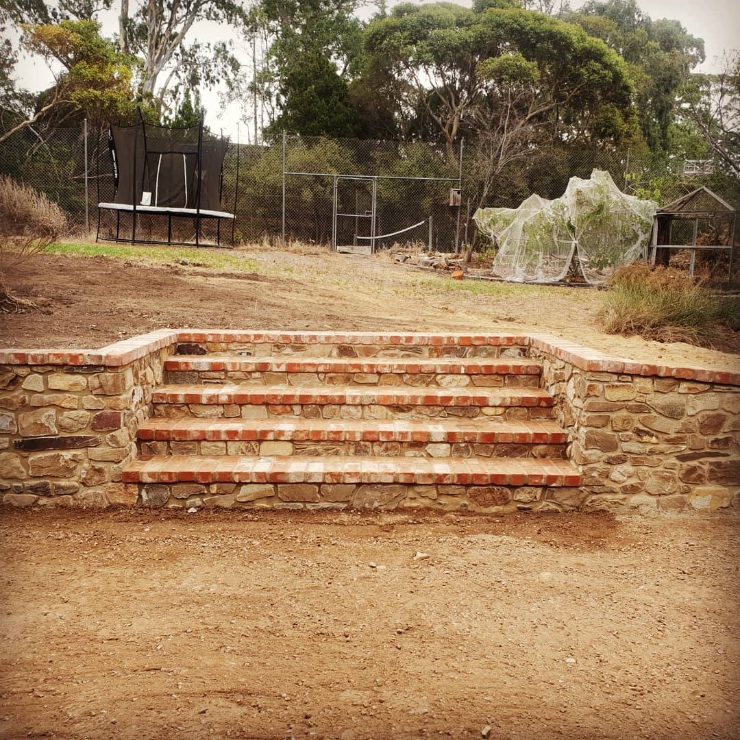 Stone Steps with Old Red Brick Treads, Hawthorndene, South Australia