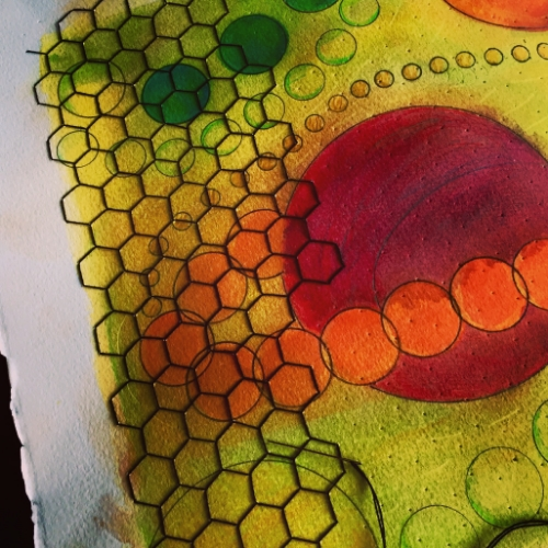 WIP: Stitching a layer of honeycomb in the fading sunlight. Watercolor, graphite, hand embroidery.June, 2015.