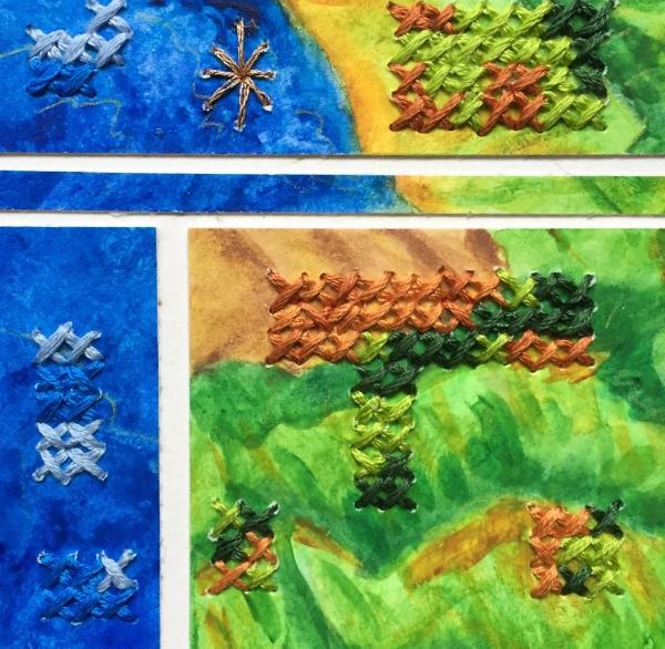 Earthea, 2. Hand embroidery/x stitch on watercolor segments.