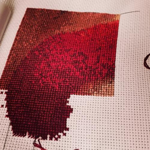 WIP: Lips self portrait x stitch.