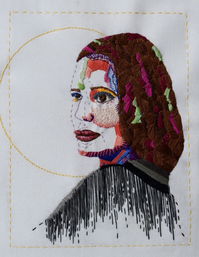 Thread Self Portrait, 2016. Hand embroidery on linen.