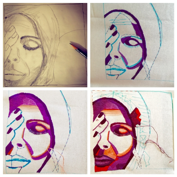 Process shots. From sketch to stitching.