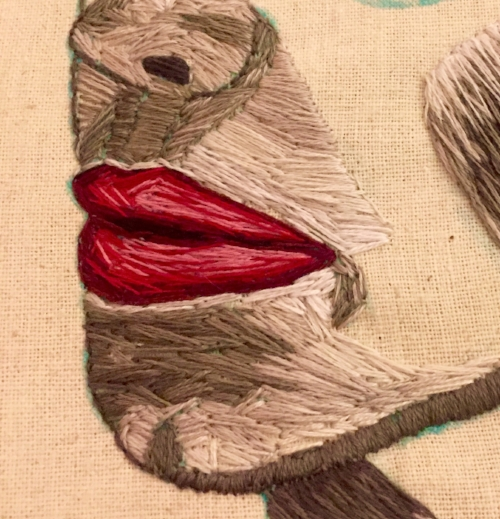 Detail from lips in process.