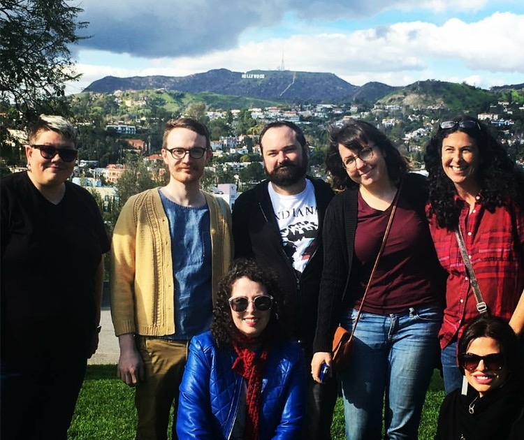 An artist gathering from the show, in front of the Hollywood sign. Becca Hammond-Cahill, Alexander Cain, Matthew Monthei, Annette Huelly, Michelle Kingdom, Rebecca Levi, Me.