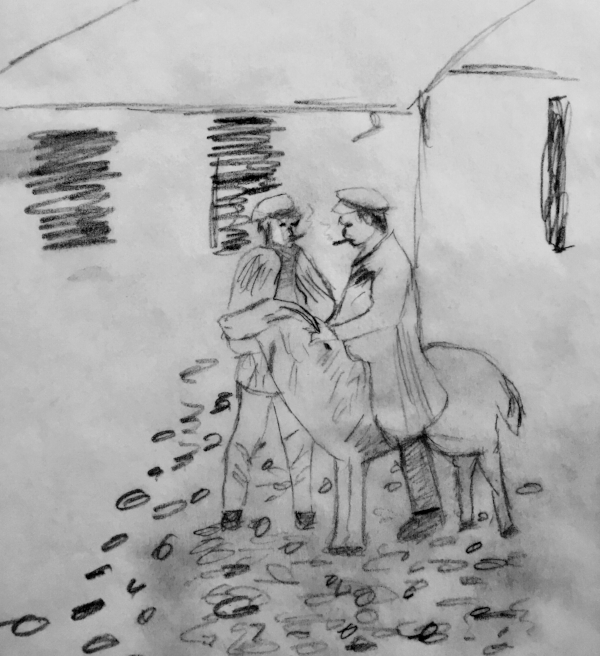 My random, muddy sketch on tissue paper of two 19th Century Polish boys smoking and hanging with their ram.