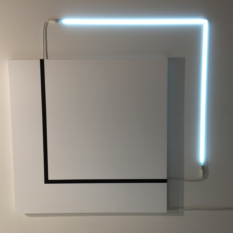 François Morellet | Carrément bricolé n°3 2013, Acrylic on canvas and white neo