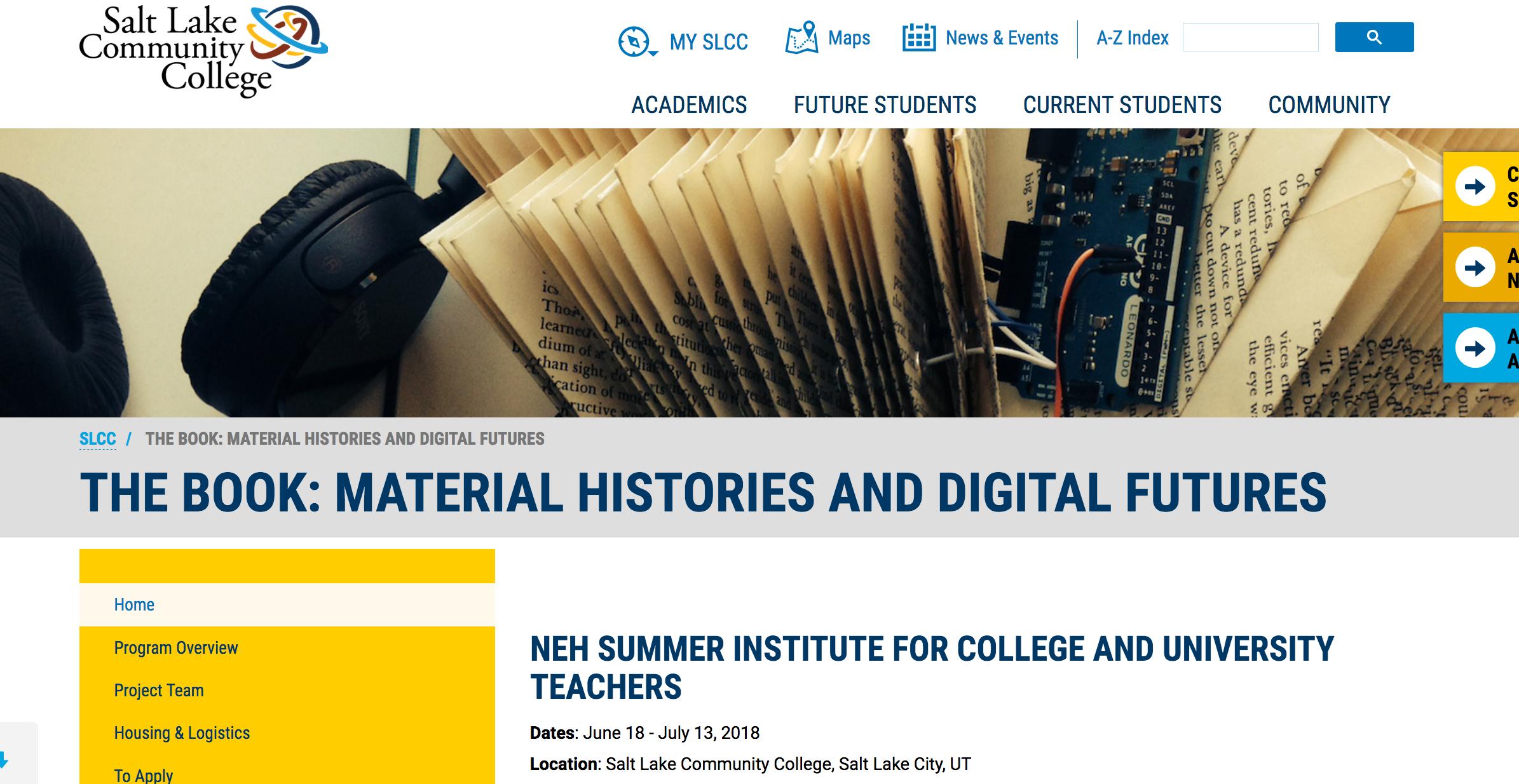 The Book: Material Histories & Digital Futures website
