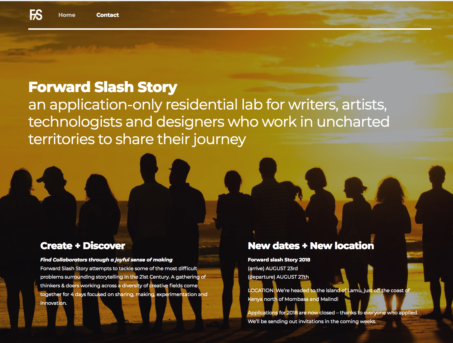 Forward Slash Story an application-only residential lab for writers, artists, technologists and designers who work in uncharted territories to share their journey
