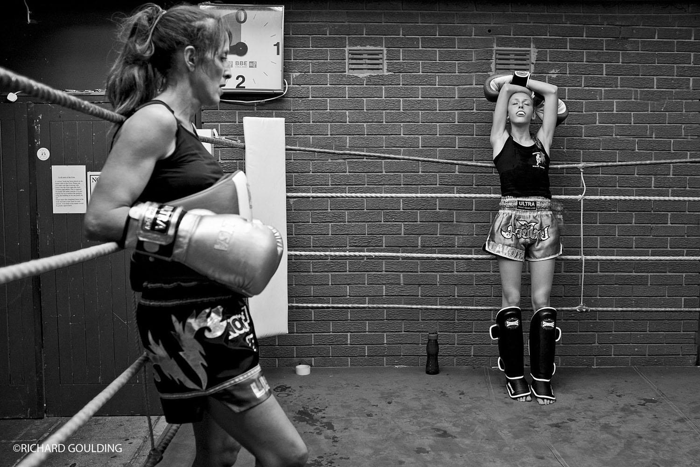 Training with her mum, Lisa Howarth former world Thai boxing champion.