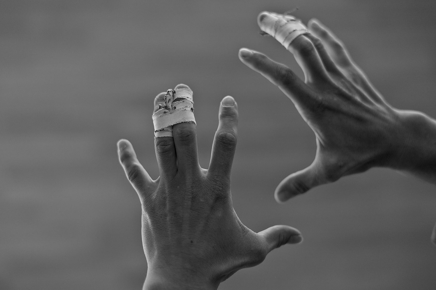 Sophie Cox, Judo team GB. Judo players tape their fingers and joint to try to minimise the damage.