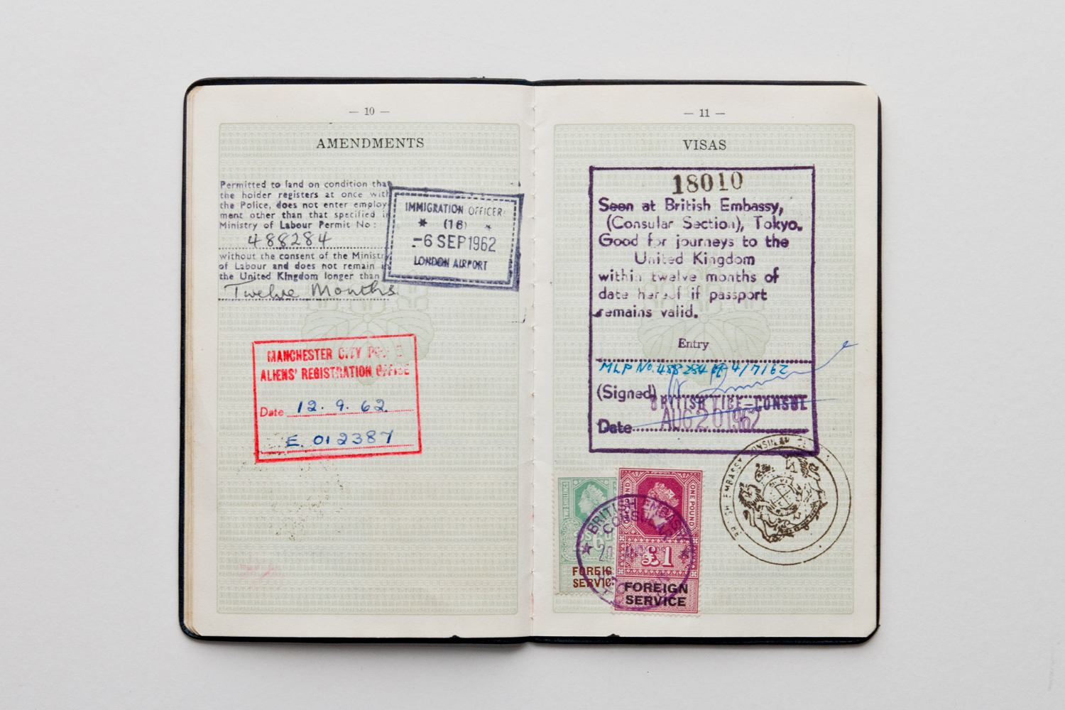 Stamps in his passport show he landed in London 6th Sept 1962, with Visa from British Embassy in Tokyo.  He was required to register as an alien with Manchester Poiice.