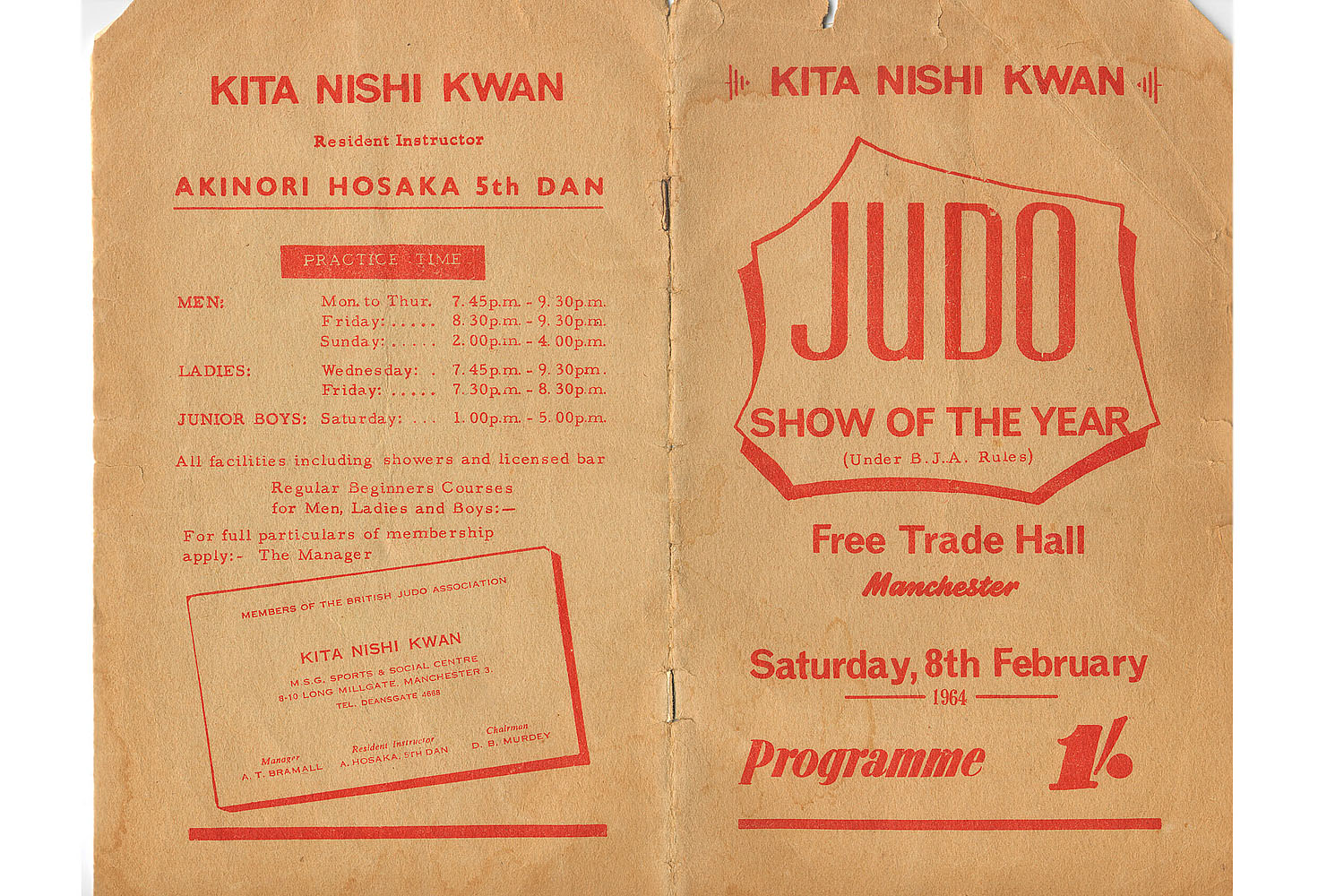 Kita Nishi Kwan - Northwest Judo School show at the Free Tarde Hall, Manchester 1964