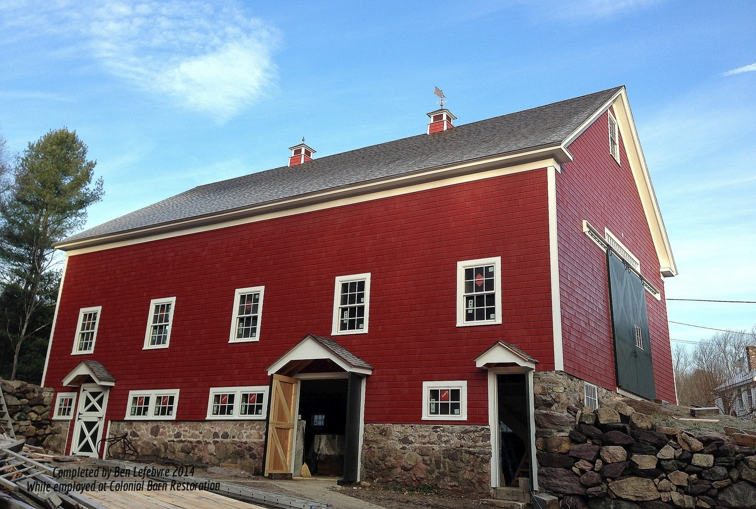 Aforlorn barn becomes a stately building again, heralding to the day of family farms.