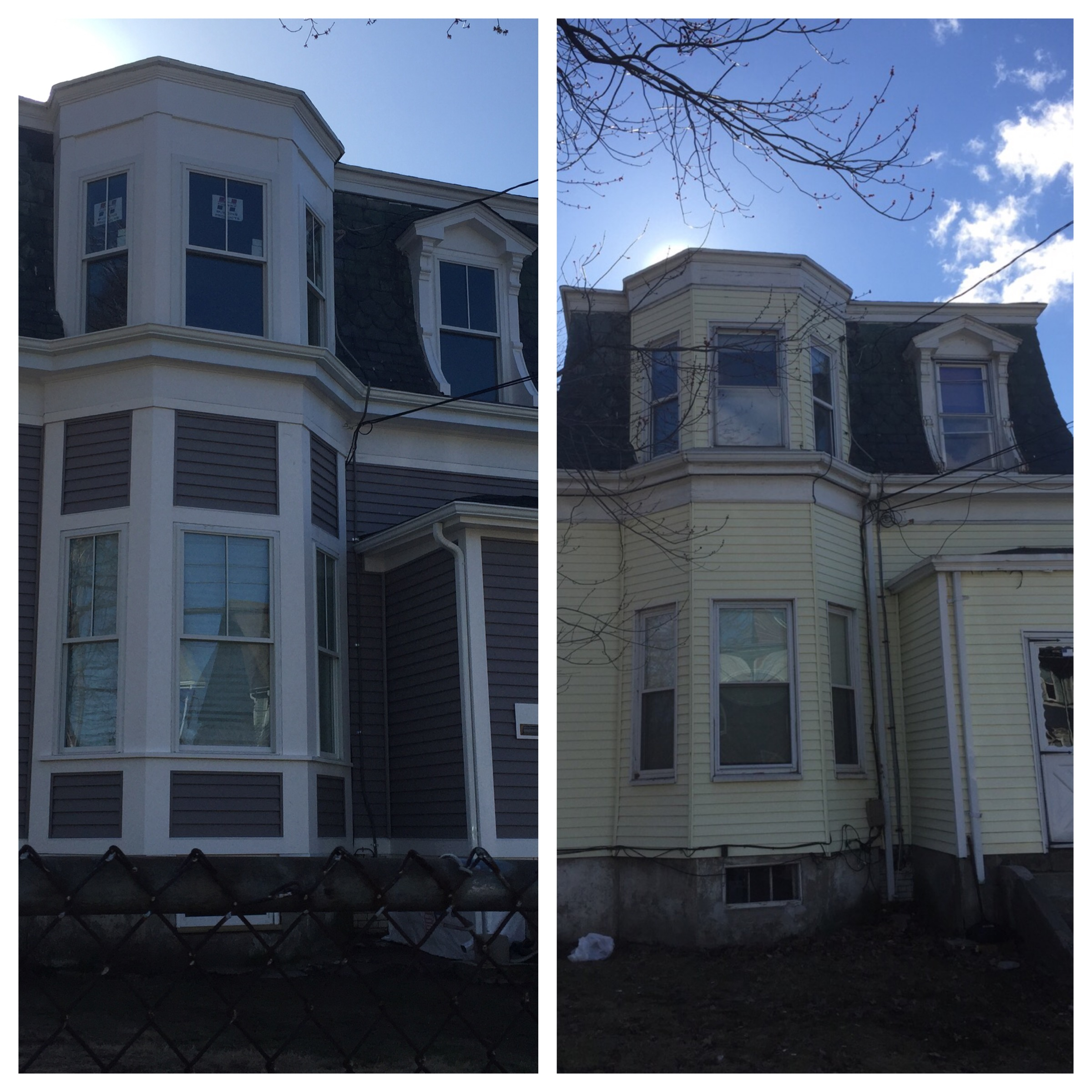 Before and after on an exterior renovation.