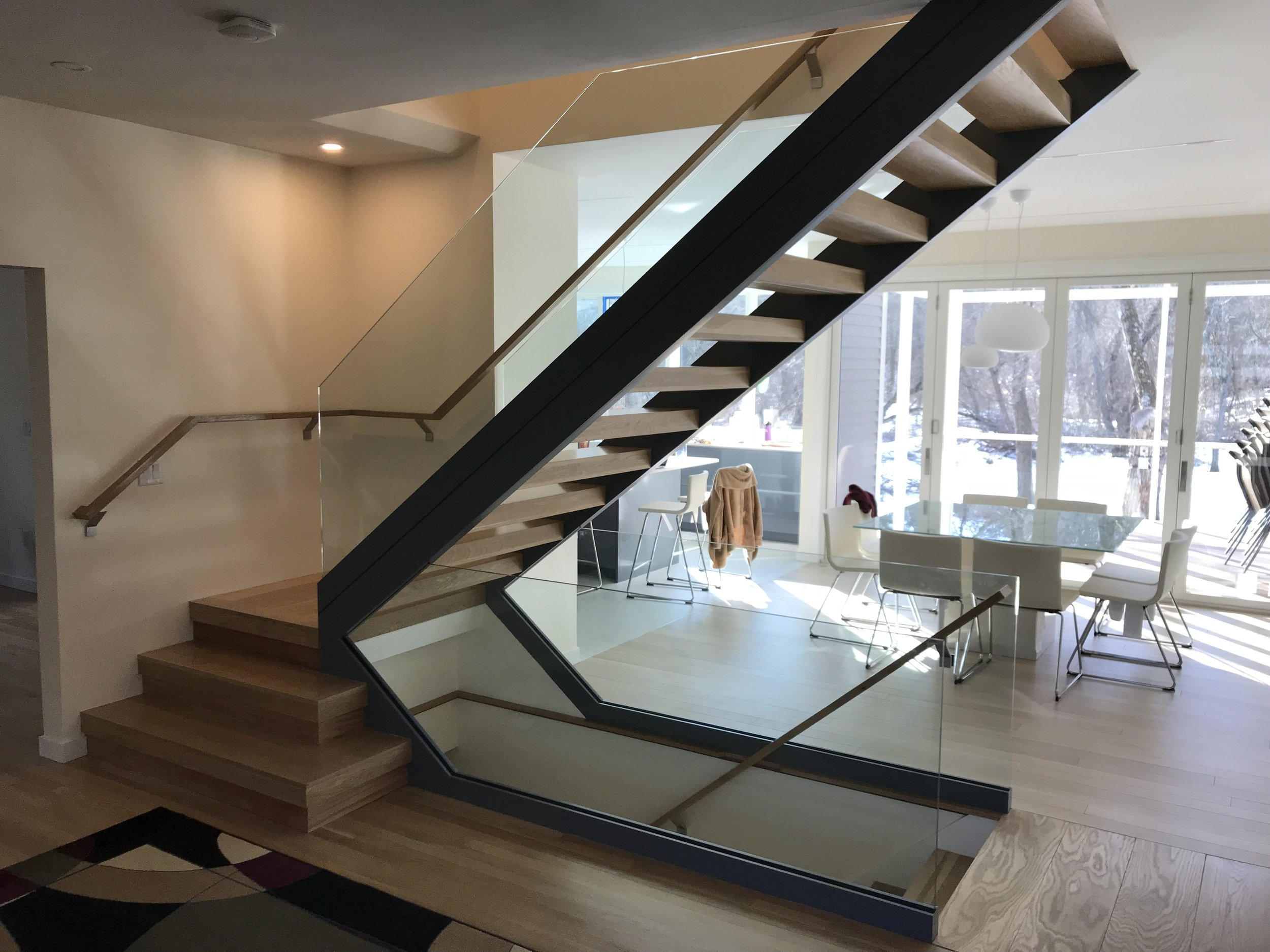 Custom site built modern stair.