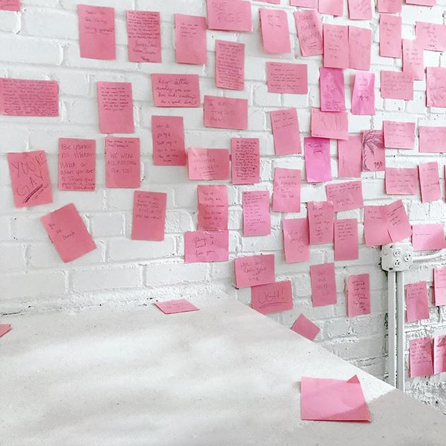 "This interactive installation called ""A Conversation with Your Inner Child,"" by Carlota Guerrero invited guests to write a message to their (smaller) self and reconnect again. What would you have told yourself if you had the chance? What did you need to hear? This room kinda choked me up. It's surreal to think of all of the the possibilities of what could or would have been. But it's emotional fuel to think of how far we've all come. 💓 @refinery29 @29rooms #latergram #art #installation #interactive #refinery29 #29rooms #pink #artexhibit #innervoice #innerchild #narrative #thoughts #brooklyn #bklyn #nyc #nycart"