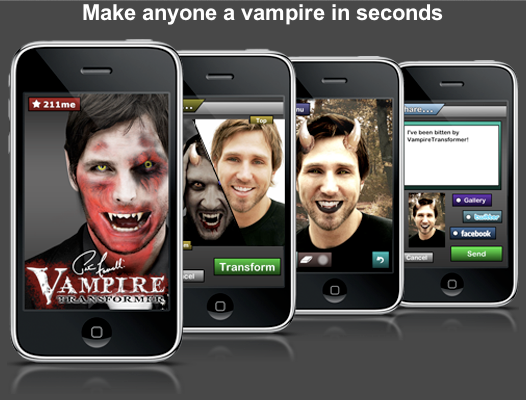 211me - I created the concept and overall design for the Vampire Transformer app for the iPhone. The app allowed you to transform any person into a vampire in seconds through a rub function to blend vampire elements into a photo. The app was hugely successful and was featured on several entertainment shows.   In addition to the photo manipulation elements, the app was integrated into Facebook, Twitter and our own hosted image gallery.    Featured on G4 Attack of the Show:   http://www.g4tv.com/videos/42971/quick-hit-peter-facinellis-vampire-transformer-iphone-app/