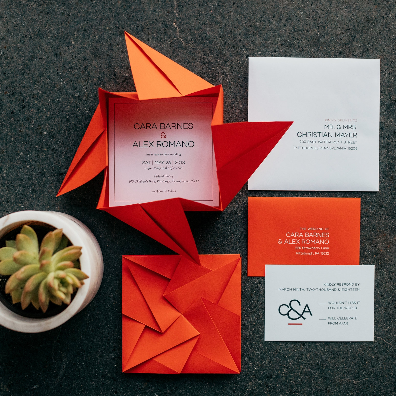Styled shoot : bold Origami  photo by tyler norman photography