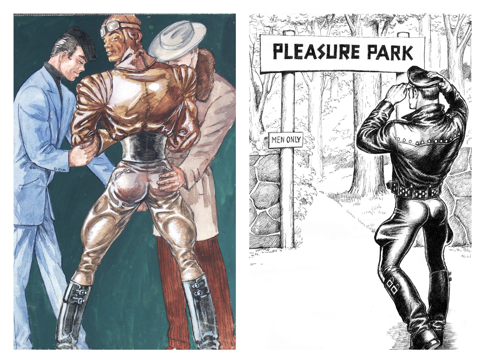 Left: Tom Of Finland, Untitled , 1947. Right: Tom of Finland, Untitled (From Kake vol. 20 - Pleasure Park) , 1977. Courtesy Tom of Finland Foundation and David Kordansky Gallery, Los Angeles, California