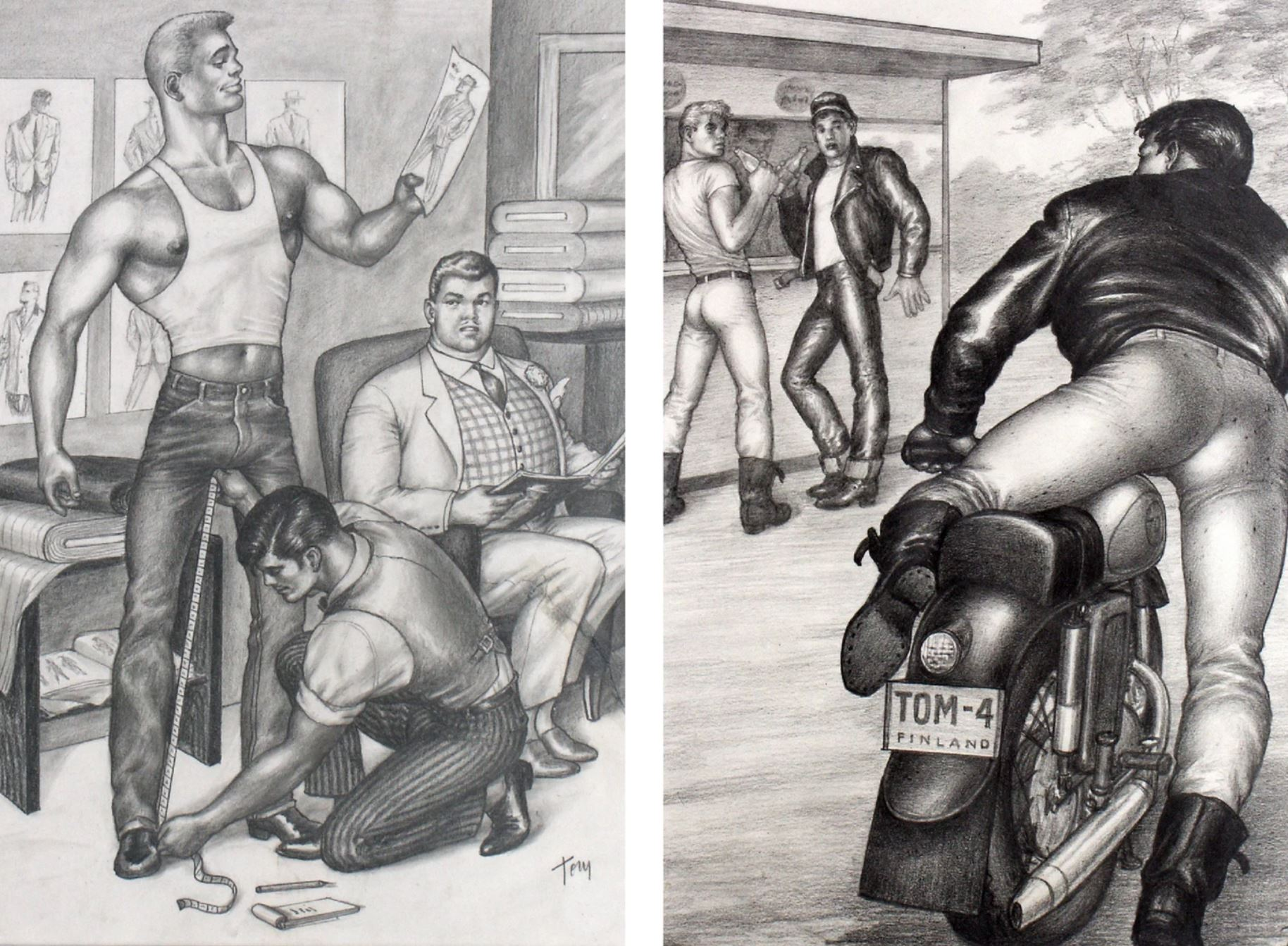 """Left: Tom Of Finland, Untitled , 1959. Right: Tom of Finland, Untitled (from """"Motorcycle Thief"""" series), 1964. Courtesy of Tom of Finland Foundation and David Kordansky Gallery, Los Angeles, California."""