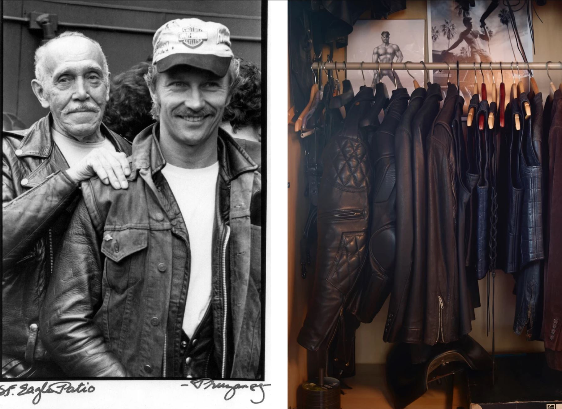 Left: Laaksonen and his protégé Durk Dehner at a fundraiser for the Foundation at the Eagle in San Francisco, 1985. Photo: Robert Pruzan. Right: Leather jackets hanging inside TOM House, Los Angeles. Photo: Martyn Thompson. As featured in the book  TOM HOUSE , published by Rizzoli.