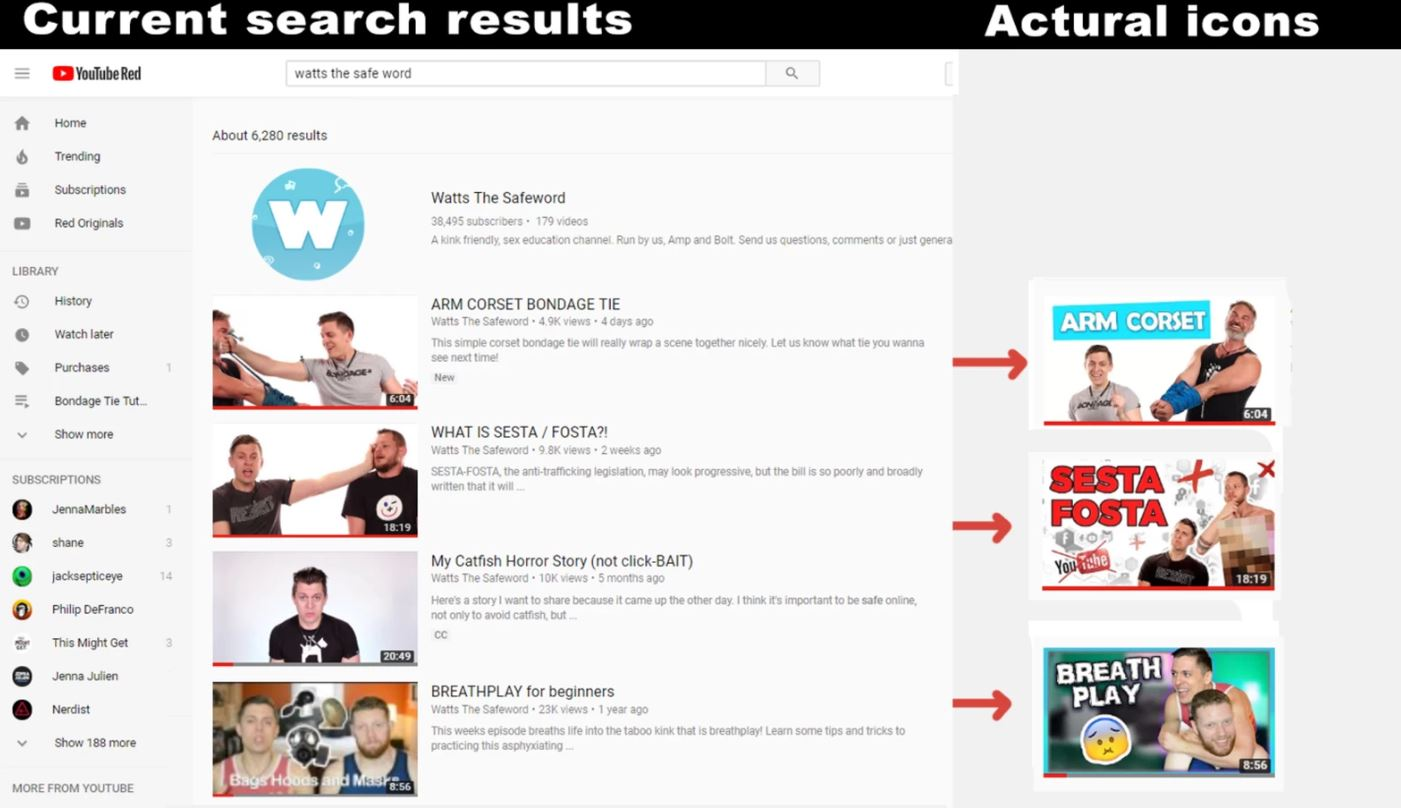 """Searching for the """"Watts the Safeword"""" channel shows the thumbnails have been reduced to screengrab. Photo courtesy of Amp Somers"""