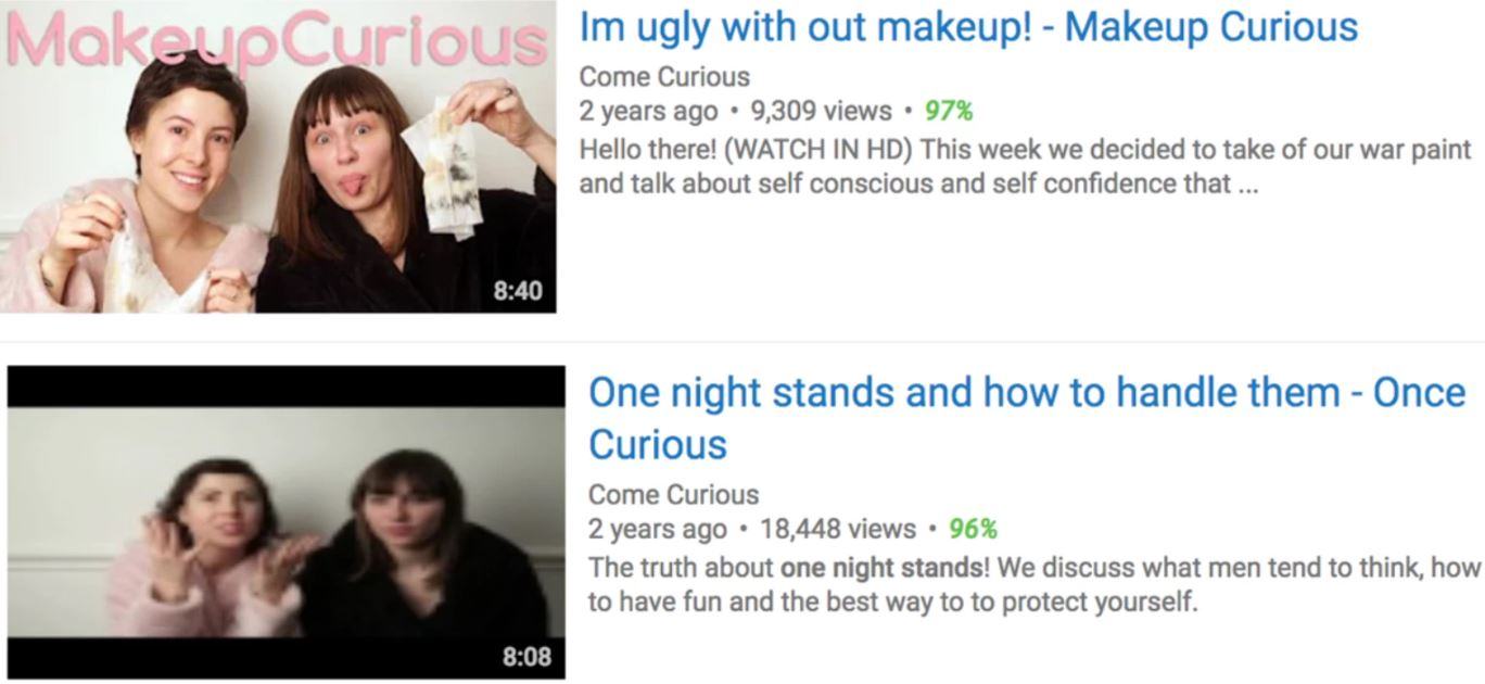 An example of how non-sex-related content is not being shadow-banned by YouTube, but sex-related content is. Photo courtesy of Come Curious