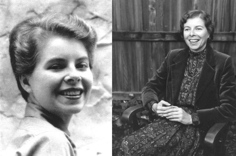 The novelist Ann Bannon in 1955, when she was 23, and in 1983, when her novels were reprinted by Naiad Press.