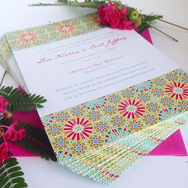 I had to post a detail shot for the spanish tile invites.  I love using bright colors! 😃🌺🍉💃 #invitations #paper #elope #engaged #ido #weddingphotographers #weddingplanners #weddings #vabrides #dcbrides #stationery #bright #weddingplanner #vaweddings #printing #graphicdesign #design  #vaisforlovers #green #manassas  #summer #bright #fun #style #invites #tapas #mexico #warrenton #richmond #leesburg #piedmont