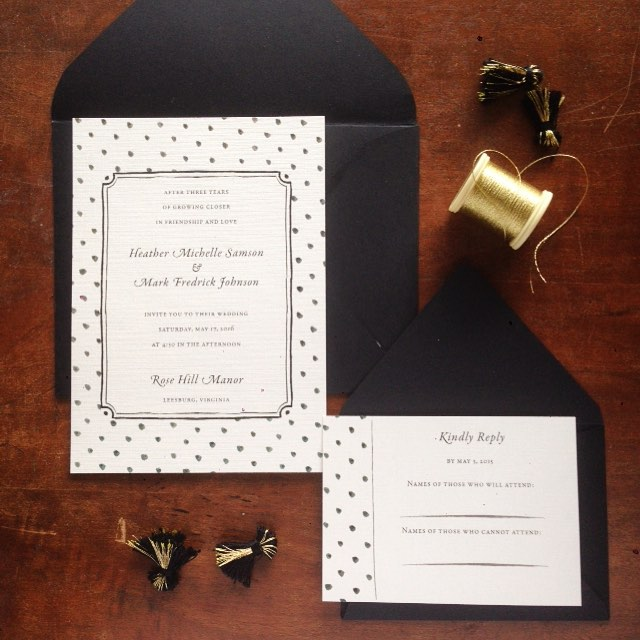 Polka dots, dalmatian spots! A classy black and white suite to go with our new collection! 🐄🐼☺️ #vaweddings #dcweddings #weddinginvitations #weddingphotography #manassas #vaweddingstylist #blackandwhite #stationery #polkadots #pretty #gold #classic #classy #weddinginvites #invitations #graphicdesign #design #engaged #lovely #vaisforlovers #weddings #wedding #bandw #paper #papergoods #printdesign #printing #smallbusiness #illustration #watercolor