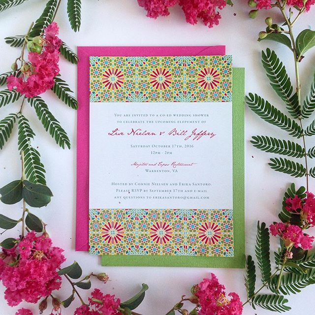 A fun little Spanish tile inspired party invite design with a shimmer linen-textured backer and fuchsia envelope.  I love using bright colors! 😃🌺🍉💃 Also this invite was special because I designed it for my high school graphic design #teacher! 😋 #invitations #paper #elope #engaged #ido #weddingphotographers #weddingplanners #weddings #vabrides #dcbrides #stationery #bright #weddingplanner #vaweddings #printing #graphicdesign #design  #vaisforlovers #green #manassas  #summer #bright #fun #invites #tapas #mexico #warrenton #richmond #leesburg #piedmont