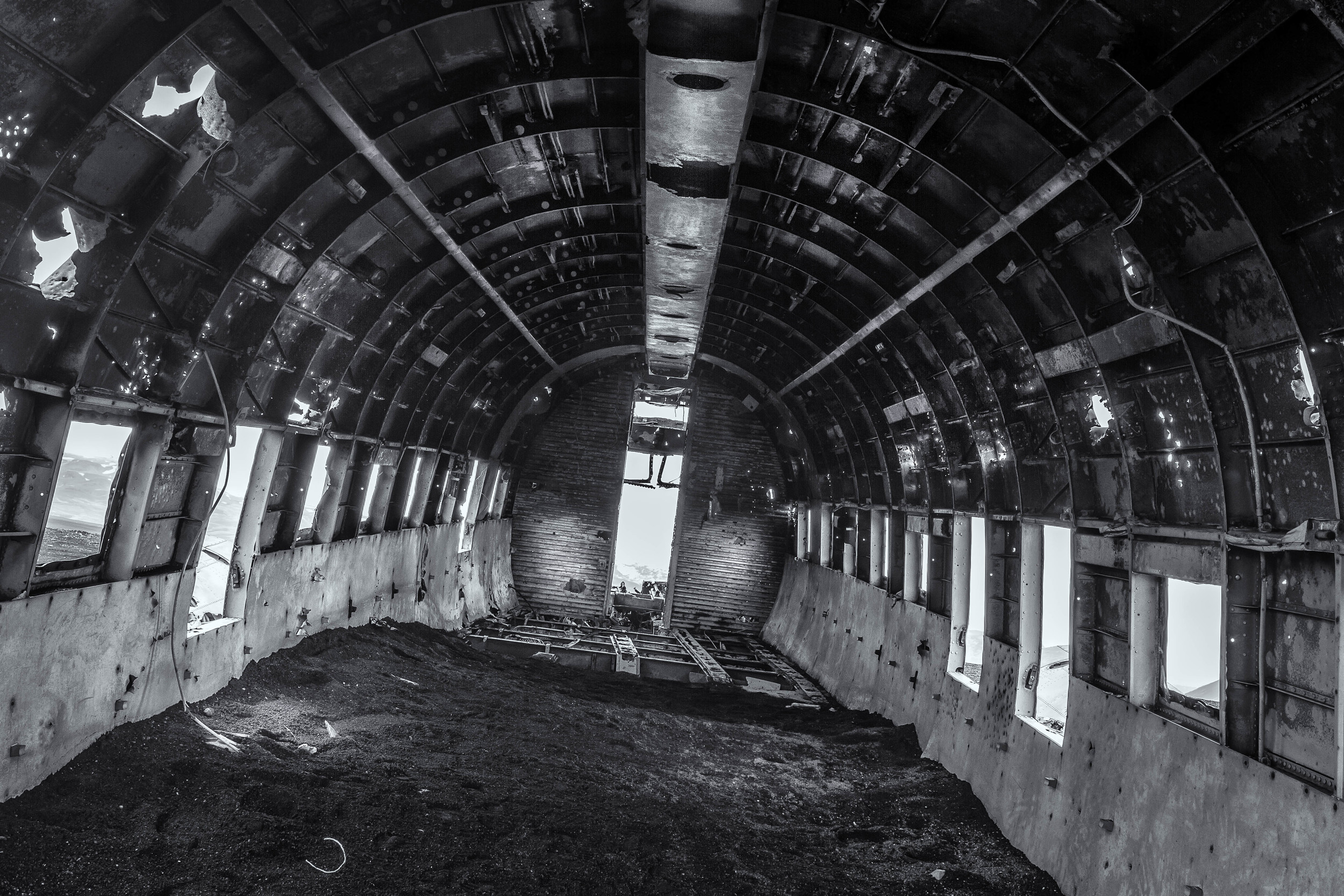 The interior is still accessible giving access to the cockpit - though not much remains.