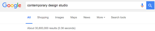 Over 30 million results in just as many tenths of a second | www.google.com
