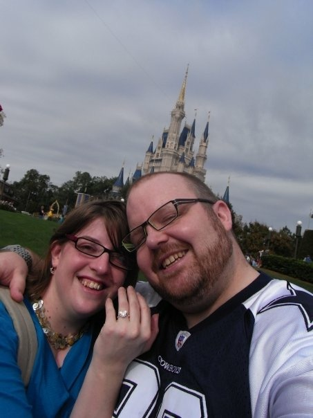 Just engaged selfie at Cinderella's Castle, complete with Mickey Mouse ring. Were selfies even a thing back in 2008?