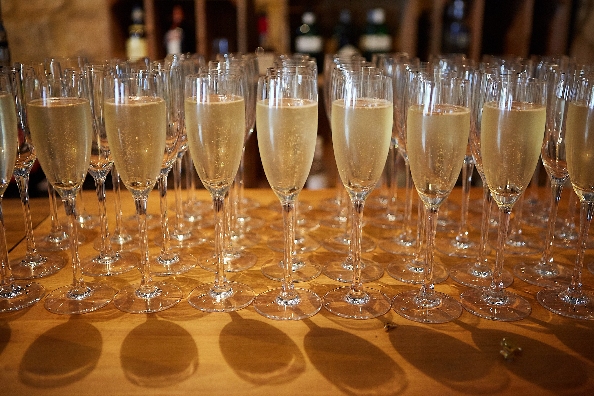 Champagne ready for the toast at a Lincolnshire wedding